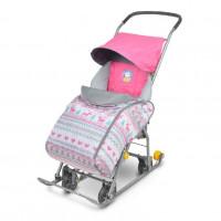 Санки коляска комбинированная «Тимка 1 универсальная» розовый Т1У