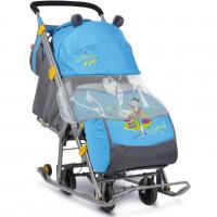 Санки коляска комбинированная «Ника детям 7» рис. с фокусником синий НД7
