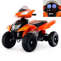 Электромобиль детский квадроцикл 37689 НАДУВНЫЕ колёса оранжевый