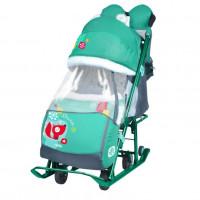 Санки коляска комбинированная «Ника детям 7-2» new светоотражающие элементы  Лиса изумруд