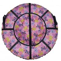 Тюбинг  CH- 75-ГЛАМУР-Бабочки розовый,1/10 с мягкими ручками,с замком,со светоотражателями,цена с камерой д=75см new
