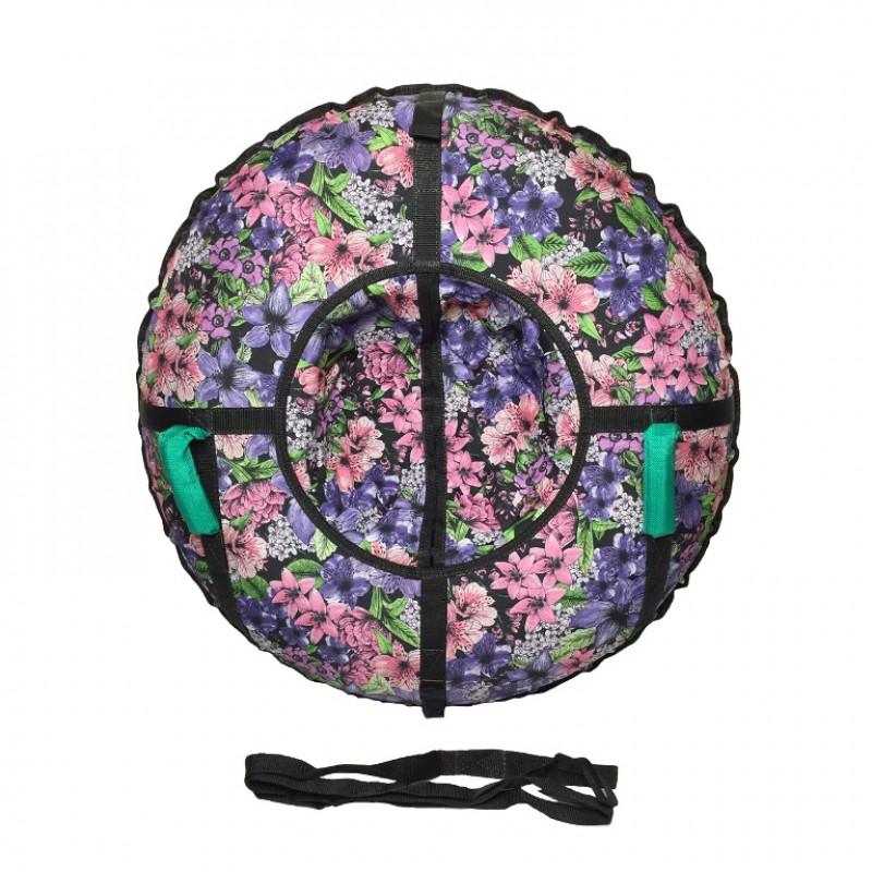 Тюбинг  CH-110-ПРИНТ-9, Цветы с мягкими ручками,с замком,со светоотражателями,цена с камерой д=110см new 1/10