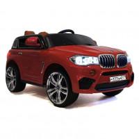 Электромобиль детский BMW 36507 красный, кож. сал. 12в р-у откр.дв  кол.рез