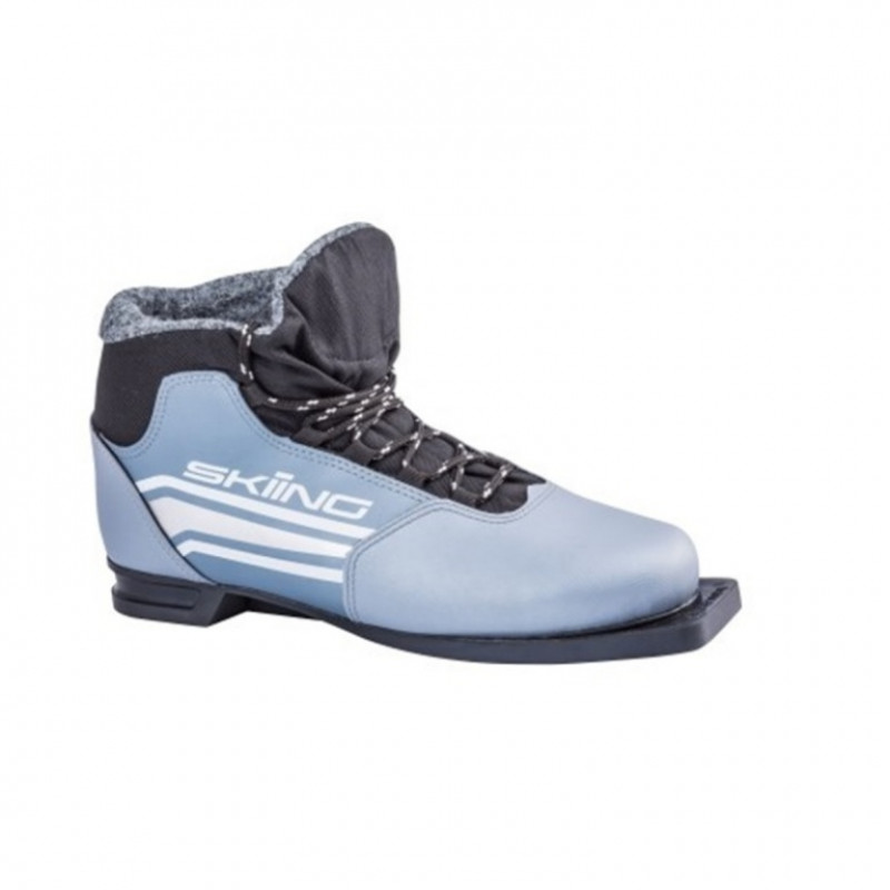 Ботинки лыжные  46р. 75мм TREK SkiingIK2 металлик (лого серебро)