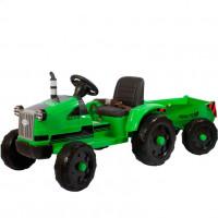 Детский электромобиль трактор TR 99,  50362 с прицепом зеленый (Р)