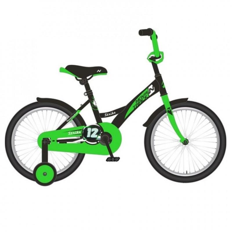 Велосипед 12 Novatrack Strike чёрный-зелёный, тормоз нож., корот.крылья, полная защита цепи