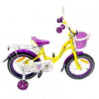 Велосипед 12 OSCAR KITTY желтый/фиолетовый  АКЦИЯ!!!