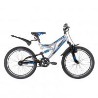 Велосипед 20 Novatrack SHARK серебристый, сталь, 1 скор., V-brake АКЦИЯ!!!