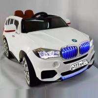 Электромобиль детский BMW 36506 белый, кож. сал. 12в р-у открыв. дверь колеса резин.