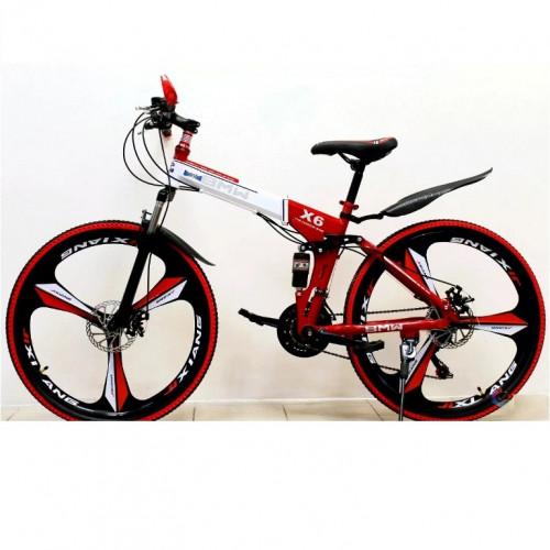 Велосипед 26 на литых складной дисках красный  (P)