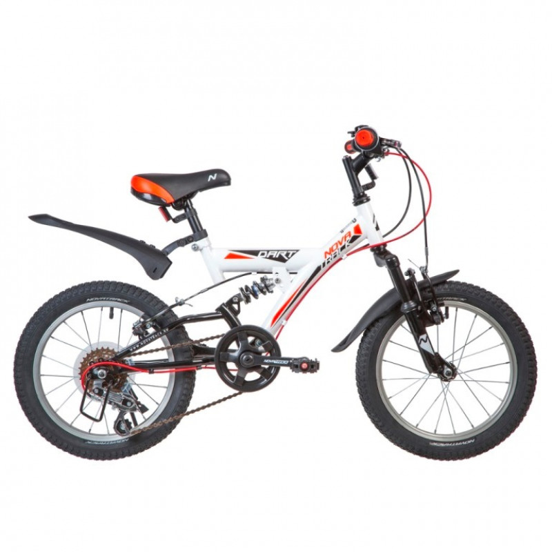 Велосипед 16  Новатрек 16SS5V.DART.WT20 ,5 скоростей, белый ,Microshift , алюм. обода , амортизатор зад/передний