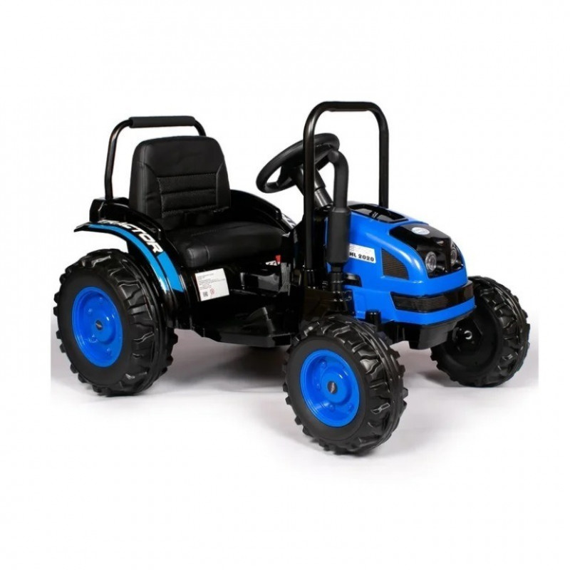 Детский электромобиль трактор TR001,  51629 с прицепом синий (Р)
