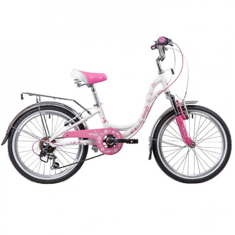 Велосипед 20 Novatrack SH6V.BUTTERFLY.PN9  бело-розовый  АКЦИЯ!!!