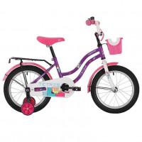 Велосипед 12 Novatrack Tetris фиолетовый, АКЦИЯ!!! тормоз ножной,крылья цвет.,багажник чёрный., перед.корзина, полная защита цепи