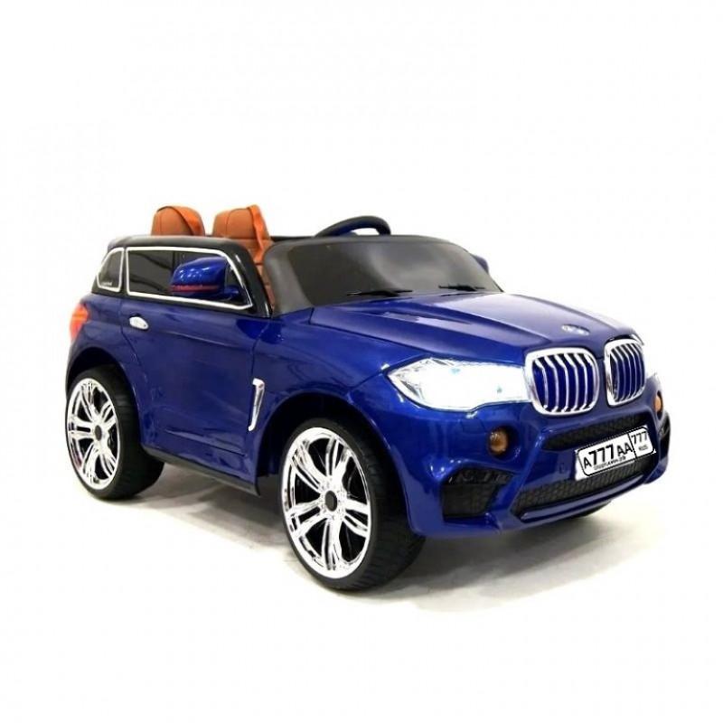 Детский электромобиль BMW 36508 синий, кож. сал. 12в р-у открыв. дверь колеса резин.