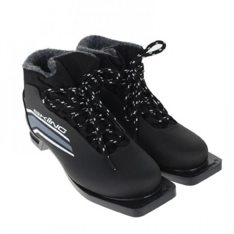 Ботинки лыжные  46р. 75мм TREK SkiingIK1 чёрный (лого серый)