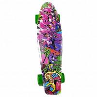 Скейтборд  Explore Ecoline BORA/6 пенниборд Джунгл фиолетовый колеса зеленый