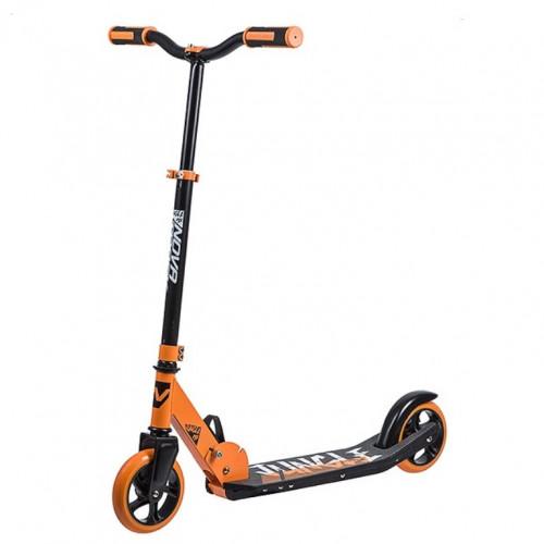 Самокат  NOVATRACK 145P.JUNGLE.OR9 сталь+пластик, складной, эргономичный Y-руль с нескладными рукоятями, ватер стикер, колеса PU 145*145мм, оранжевый