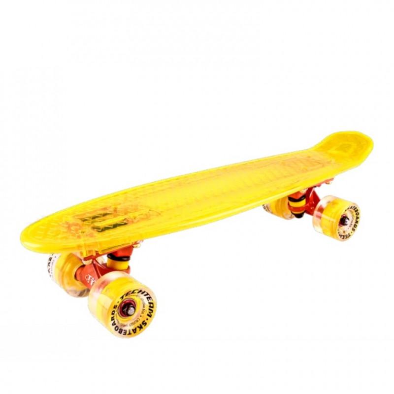 Скейтборд  ТТ  Transparent light 22  (6) TLS-403  yellow со свет.