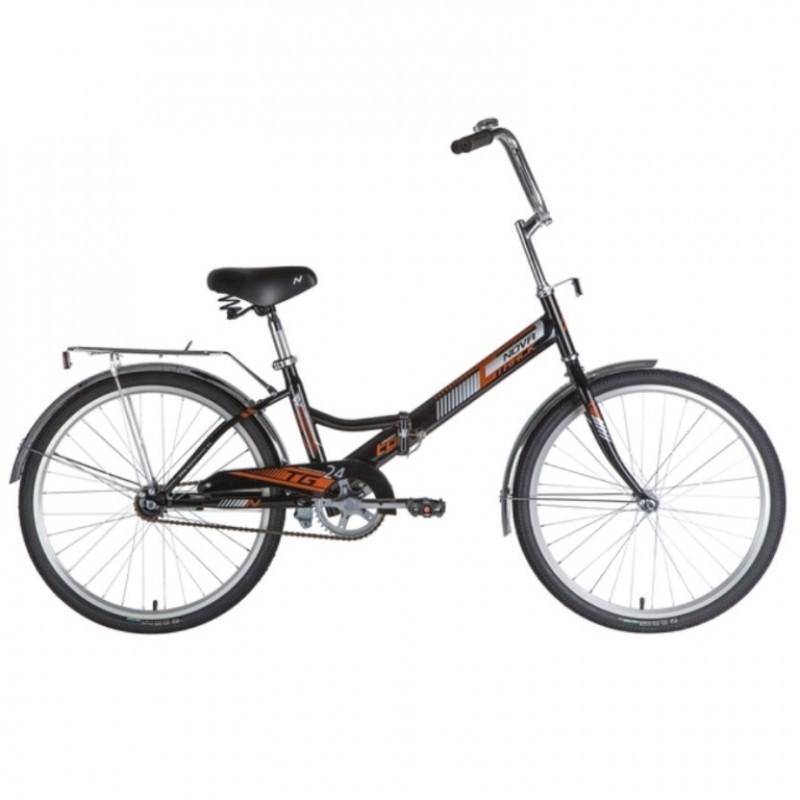 Велосипед 24 Novatrack складной, TG, черный, тормоз нож, двойной обод, багажник, сидение комфорт