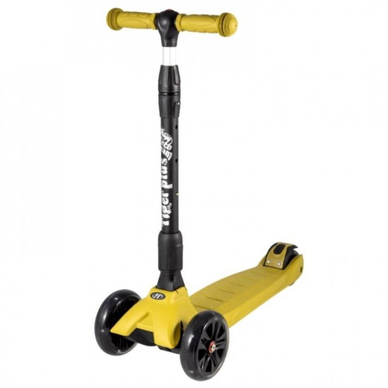 Детский самокат TT TIGER Plus 2020 (жёлтый) со светящимися колесами 1/4 (Р)