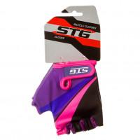 Перчатки STG  Х87909-C  летние  с защитной прокладкой,застежка на липучке фиолетовые/чёрные/розовые