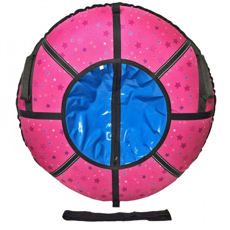 Тюбинг  CH- 75-ГЛАМУР-ЗВЁЗДЫ  розовый 9,1/10 с мягкими ручками,с замком,со светоотражателями,цена с камерой д=75см new