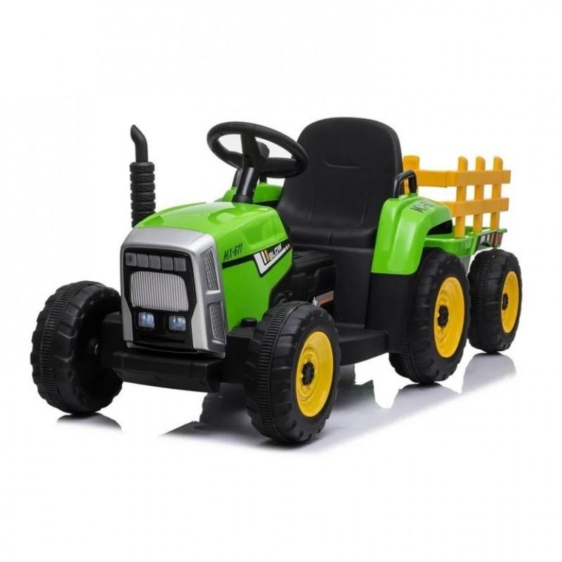 Детский электромобиль трактор TR 77,  50364 с прицепом зеленый (Р)