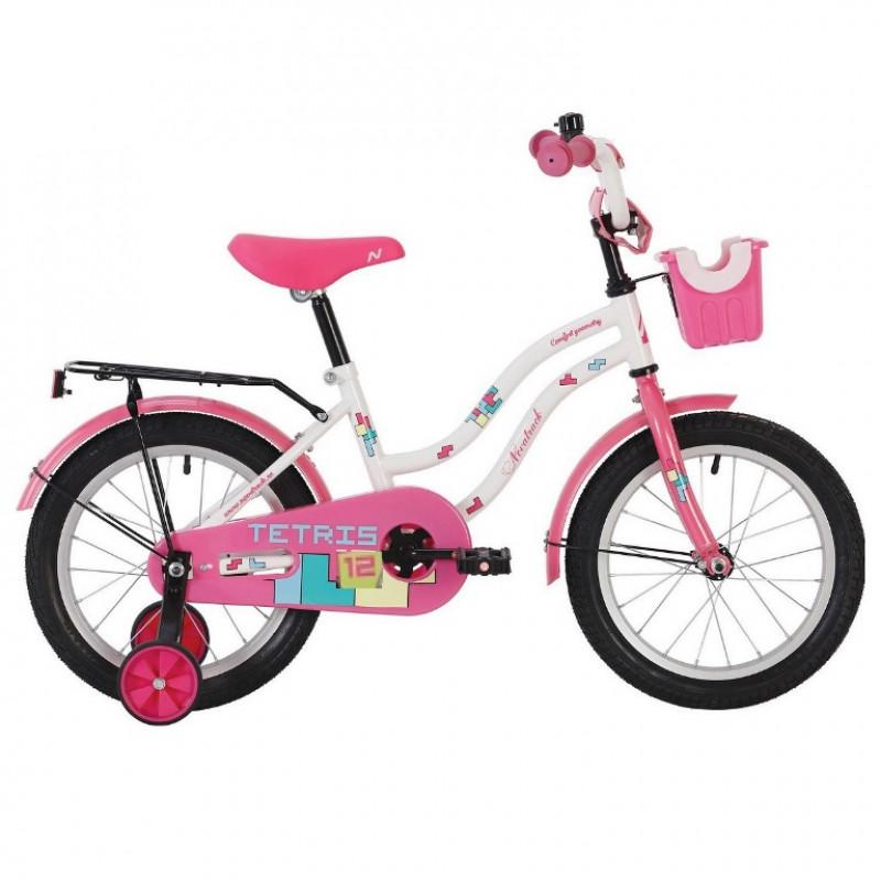 Велосипед 12 Novatrack Tetris белый,тормоз нож.,крылья цвет.,багажник чёрный., перед.корзина, полная защита цепи