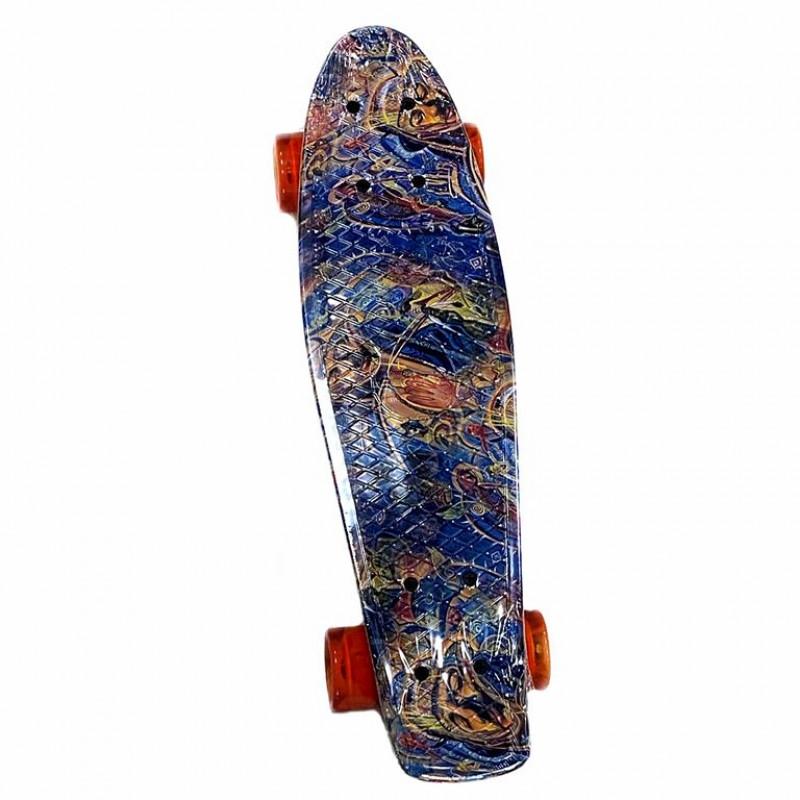 Скейтборд-пенниборд Explore Ecoline SURFER/6  Графитти колесо оранжевые