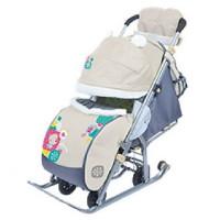 Санки коляска комбинированная «Ника детям 7» девочкой с зонтиком бежевый НД7
