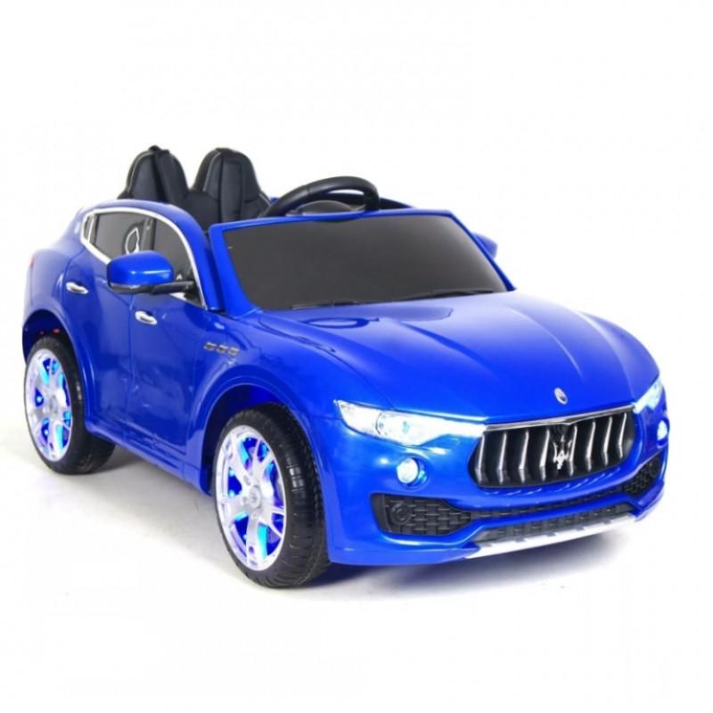Детский электромобиль Maserati  синий глянец, кож. сал. 12в р-у откр.дв кол.рез