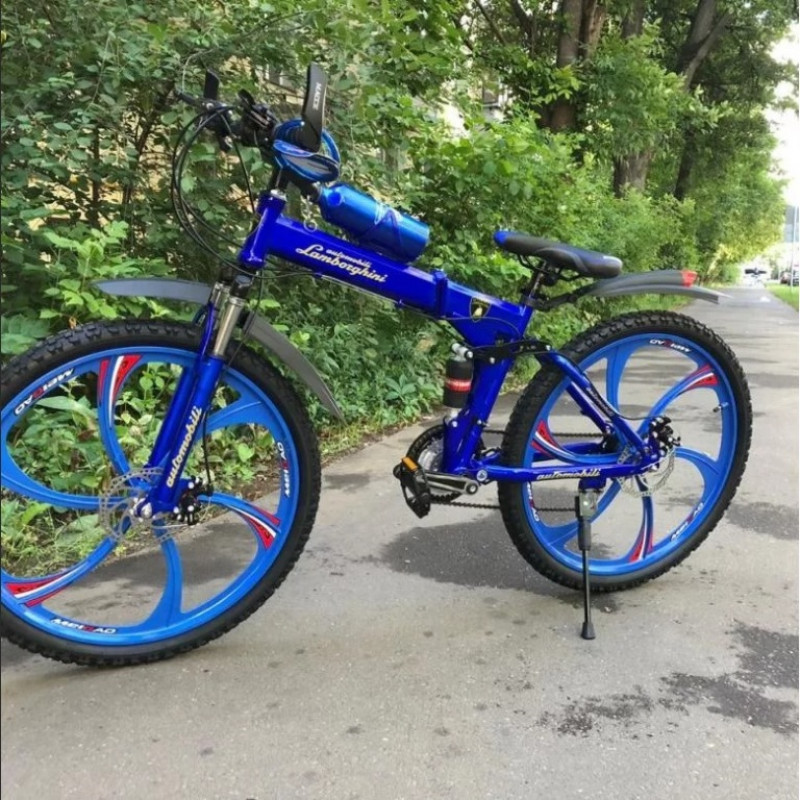 Велосипед 26 на литых дисках Lamborghini складной синий (P)