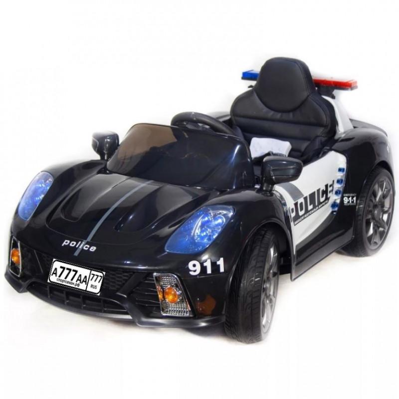 Электромобиль детский Porsche 911 Police Б005OС  50532 (Р) чёрно-белый