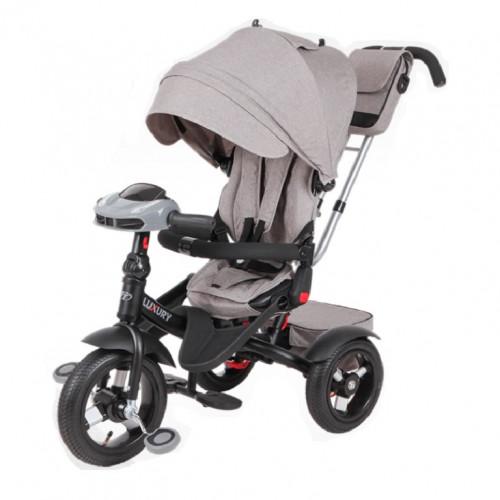Детский 3-х колёсный велосипед TT Luxury серый 1/1 колеса надувные 12/10