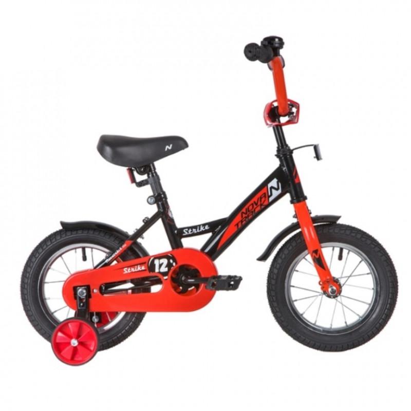 Велосипед 12 Novatrack Strike чёрный-красный, тормоз нож. ,корот.крылья, полная защита цепи