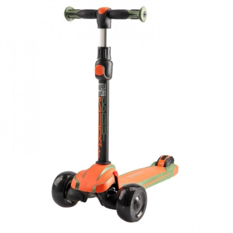 Детский самокат Tech Team SURFBOY 2020 (оранжевый) со светящимися колесами 1/4 (P)