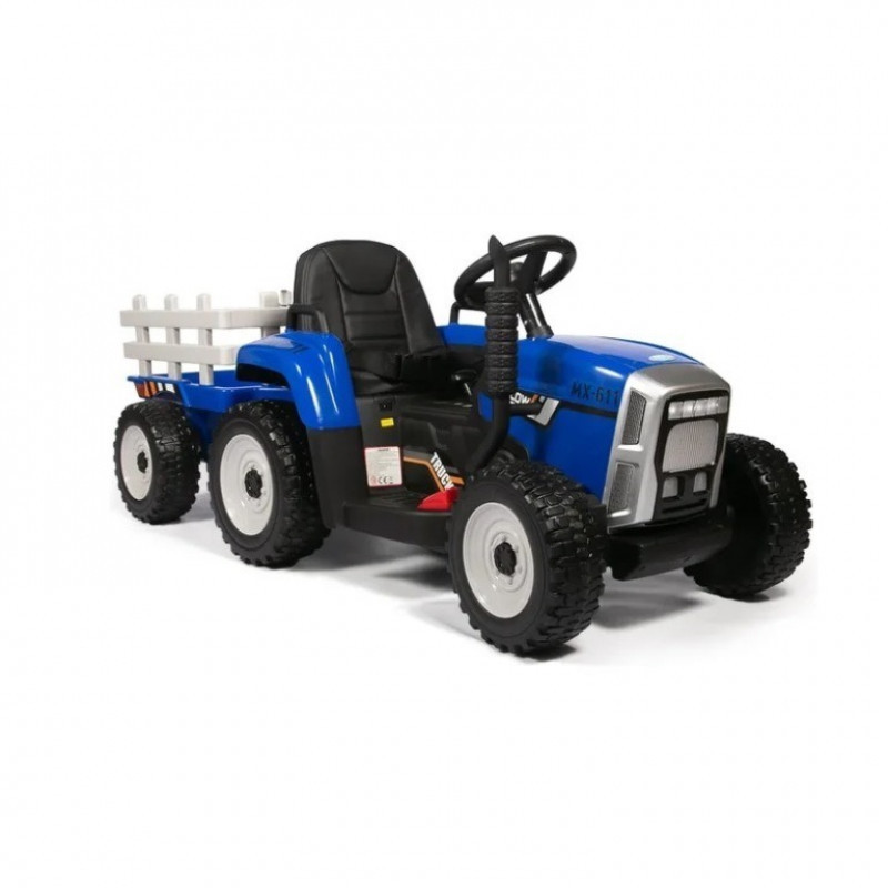 Детский электромобиль трактор TR 77,  51630 с прицепом синий (Р)