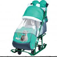 Санки коляска комбинированная «Ника детям 7-2» new светоотражающие элементы с котенком изумрудный