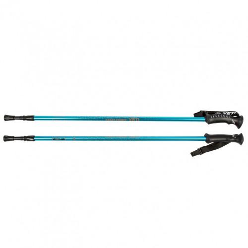 Палки  Yeti Blue, треккинговые 115-135см 2-х секционные,диаметр 16/14мм, ручка пластмассовая , al6061, система antishock 1/30