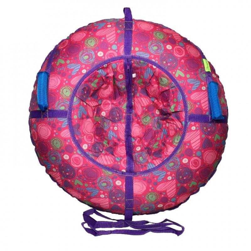 Тюбинг  CH-120-ПРИНТ-9, Love розовые с мягкими ручками,с замком,со светоотражателями,цена с камерой д=120см new 1/10