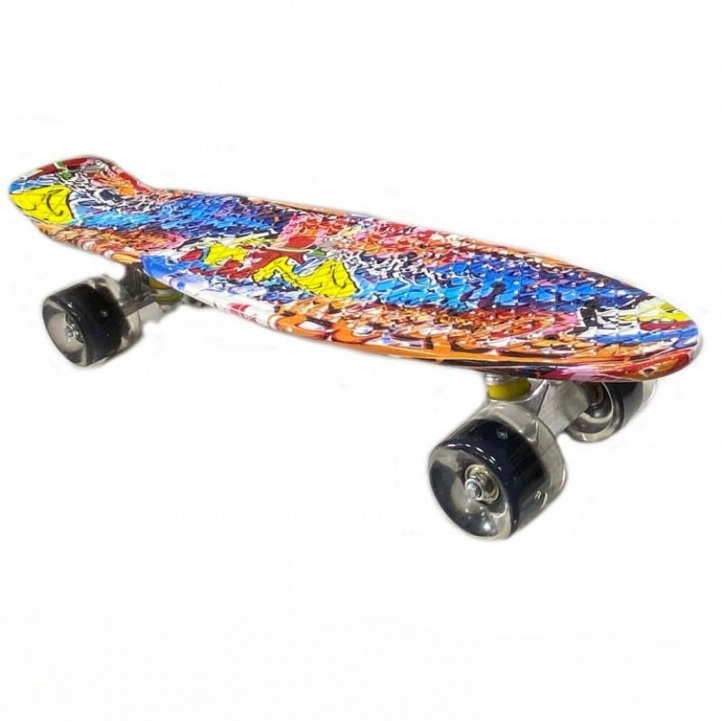 Скейтборд  JC-003 22 Граффити оранжевый