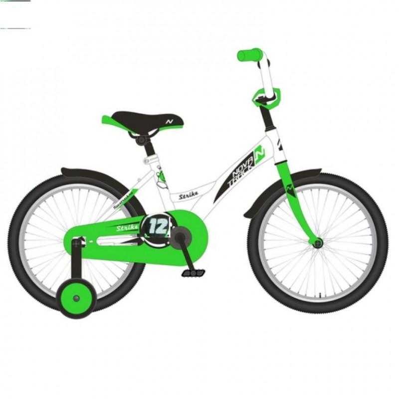 Велосипед 12 Novatrack Strike белый-зелёный, тормоз нож., корот.крылья, полная защита цепи