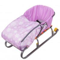 Сиденье для санок с чехлом для ног СС3 Снежинки розовый  (10) 75*38см