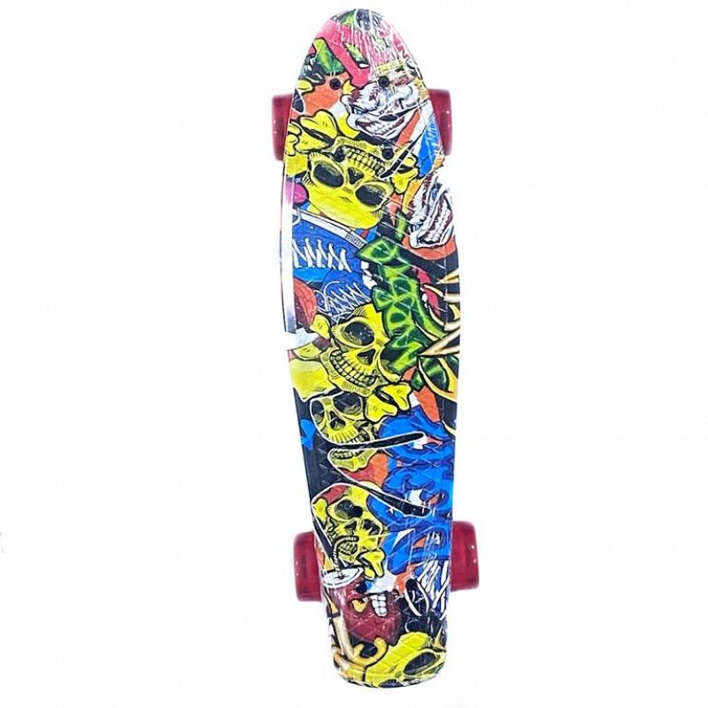 Скейтборд  Explore Ecoline REBEL/6 Хип Хоп Кеды в черепах колеса красныекраснные