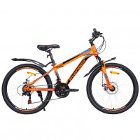 Велосипед 24 Avenger C243D, оранжевый неон/голубой,