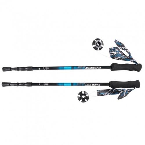 Палки  Everest Blue, треккинговые 105-135см 3-х секционные,диаметр 16/14/12мм, Alu7075, ручка EVA.система antishock 1/30