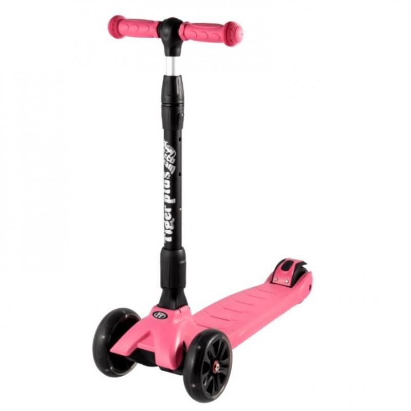 Детский самокат Tech Team TIGER Plus 2020 (розовый) со светящимися колесами 1/4 (Р)