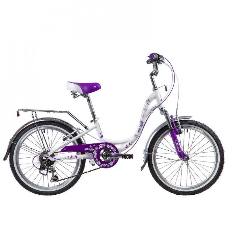 Велосипед 20 Novatrack SH6V.BUTTERFLY.VL9  , 6 скоростей ,бело-фиолетовый  АКЦИЯ!!!