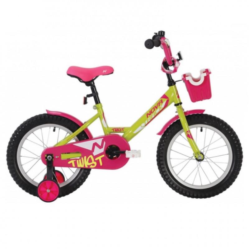 Велосипед 12 Novatrack Twist-корзина, АКЦИЯ!!! салатовый-розовый, тормоз ножной, корот.крылья, полная защита цепи